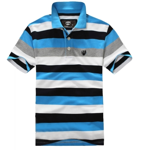Timberland Men's Short Sleeve Striped Rugby Polo Shirt Grey White Blue